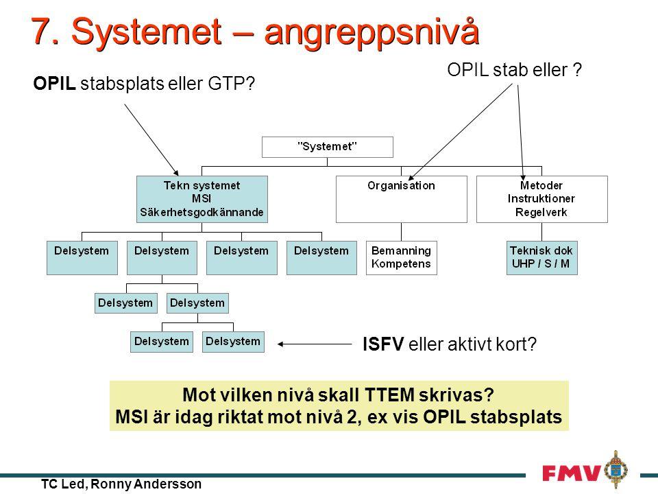 TC Led, Ronny Andersson 6. Vidmakthållande – Mod / anpassn Materielsystemintyg, MSI Systemet Mtrlsystemdeklaration •Egenskaper, uppbyggn (System)säker