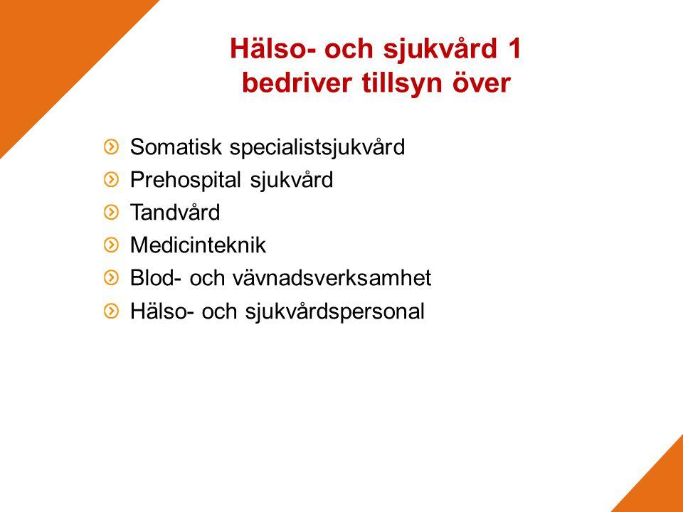 Hälso- och sjukvård 1 bedriver tillsyn över Somatisk specialistsjukvård Prehospital sjukvård Tandvård Medicinteknik Blod- och vävnadsverksamhet Hälso- och sjukvårdspersonal
