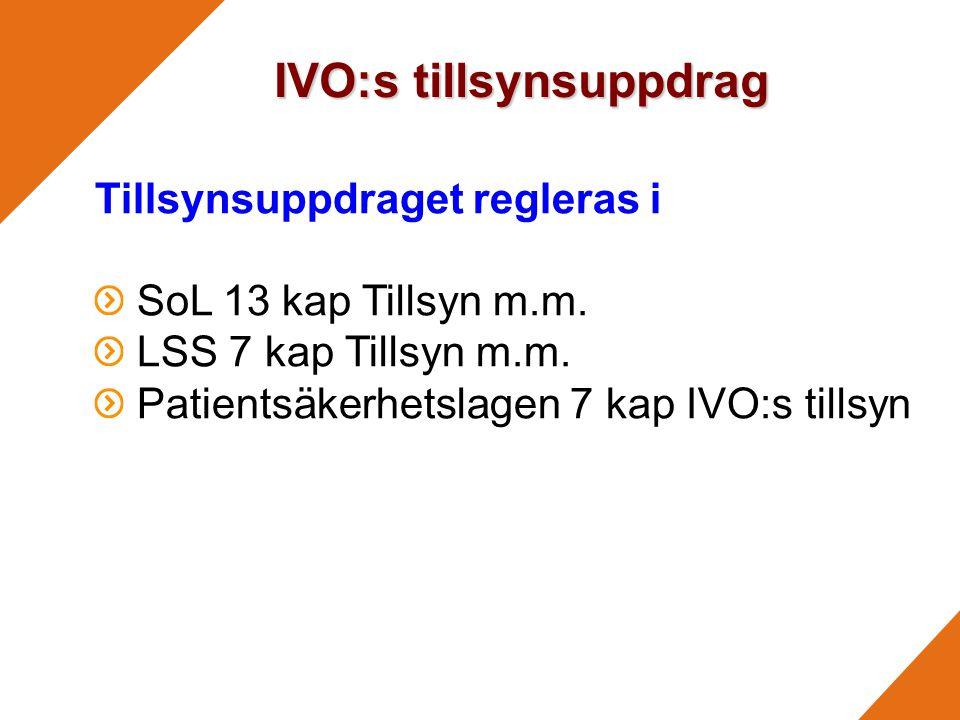 IVO:s tillsynsuppdrag Tillsynsuppdraget regleras i SoL 13 kap Tillsyn m.m.