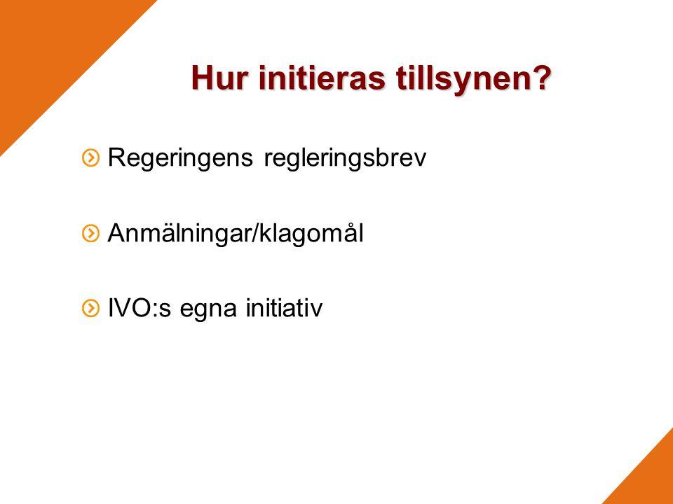 Hur initieras tillsynen? Regeringens regleringsbrev Anmälningar/klagomål IVO:s egna initiativ