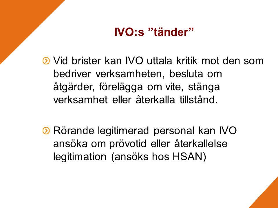 IVO:s tänder Vid brister kan IVO uttala kritik mot den som bedriver verksamheten, besluta om åtgärder, förelägga om vite, stänga verksamhet eller återkalla tillstånd.