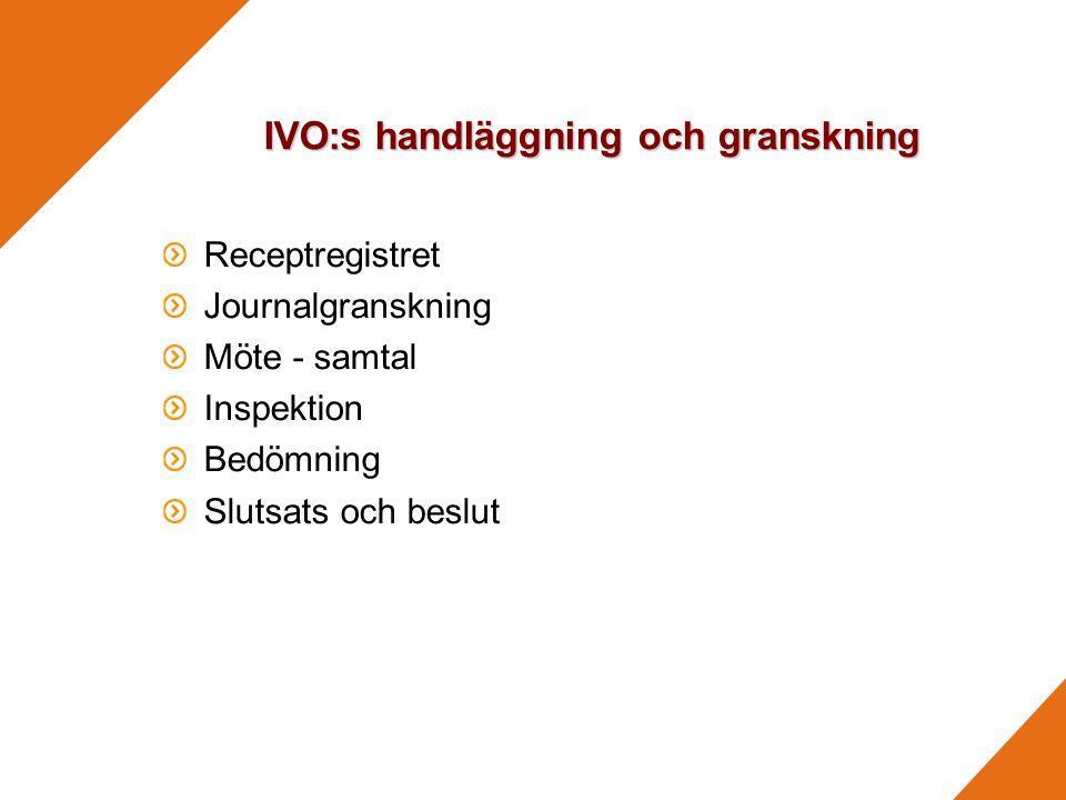 IVO:s handläggning och granskning Receptregistret Journalgranskning Möte - samtal Inspektion Bedömning Slutsats och beslut