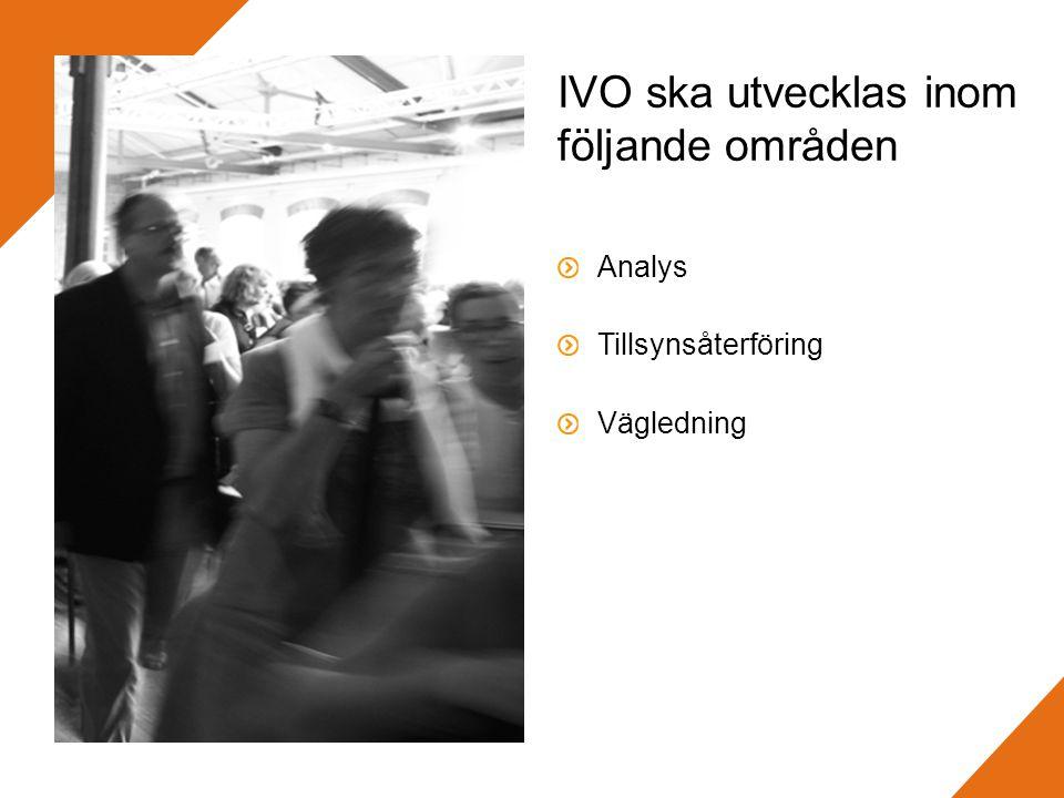IVO ska utvecklas inom följande områden Analys Tillsynsåterföring Vägledning