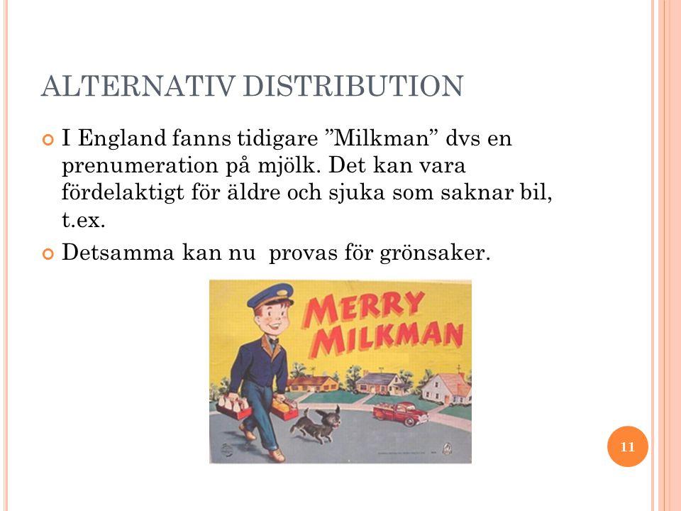 ALTERNATIV DISTRIBUTION I England fanns tidigare Milkman dvs en prenumeration på mjölk.