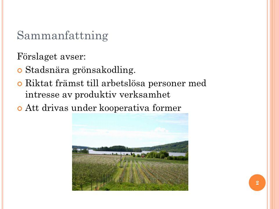 Sammanfattning Förslaget avser: Stadsnära grönsakodling.