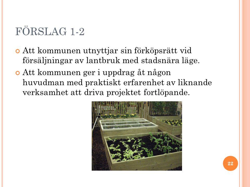 FÖRSLAG 1-2 Att kommunen utnyttjar sin förköpsrätt vid försäljningar av lantbruk med stadsnära läge.