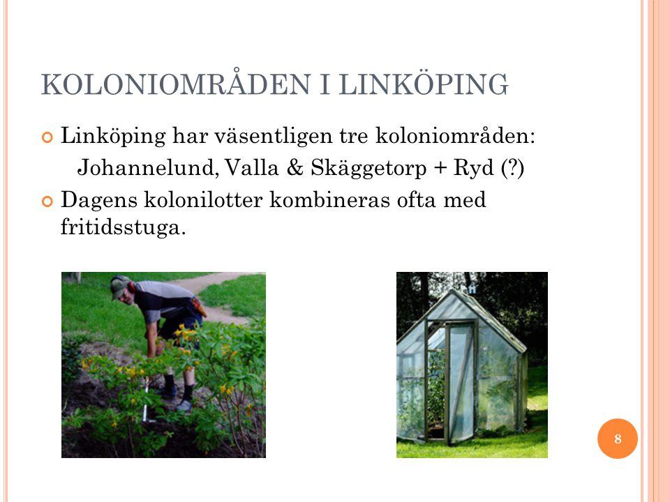 KOLONIOMRÅDEN I LINKÖPING Linköping har väsentligen tre koloniområden: Johannelund, Valla & Skäggetorp + Ryd ( ) Dagens kolonilotter kombineras ofta med fritidsstuga.