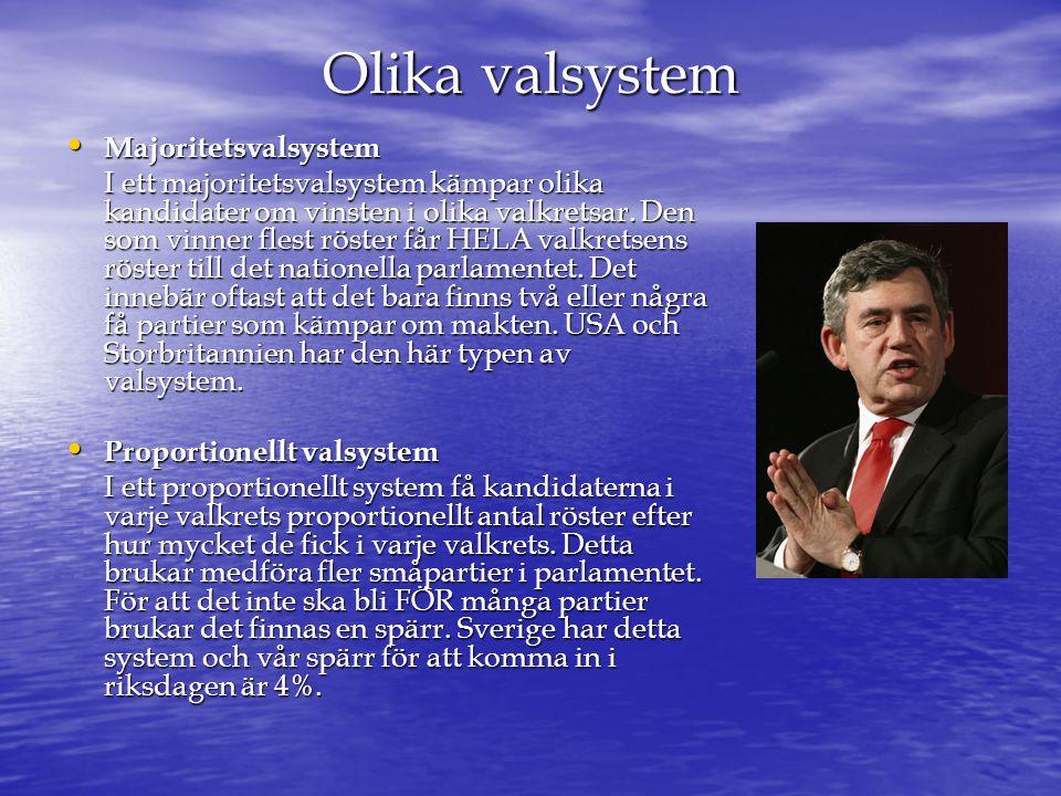 • Fördelarna med majoritetsvalsystemet är att det är enkelt att få starka regeringar.