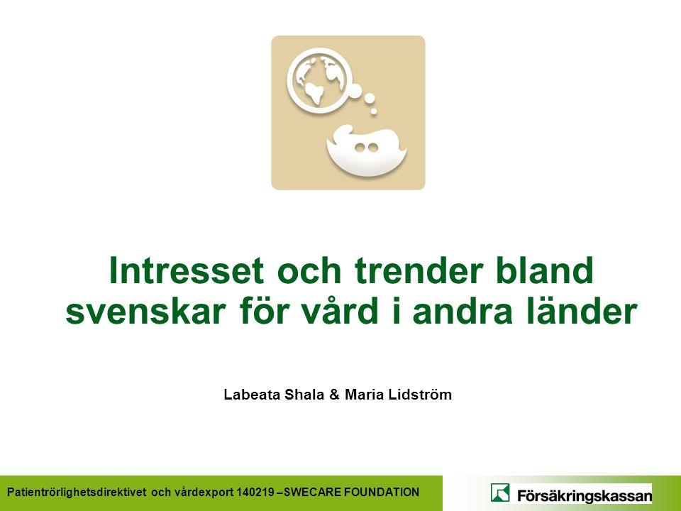 Patientrörlighetsdirektivet och vårdexport 140219 –SWECARE FOUNDATION Intresset och trender bland svenskar för vård i andra länder Labeata Shala & Maria Lidström