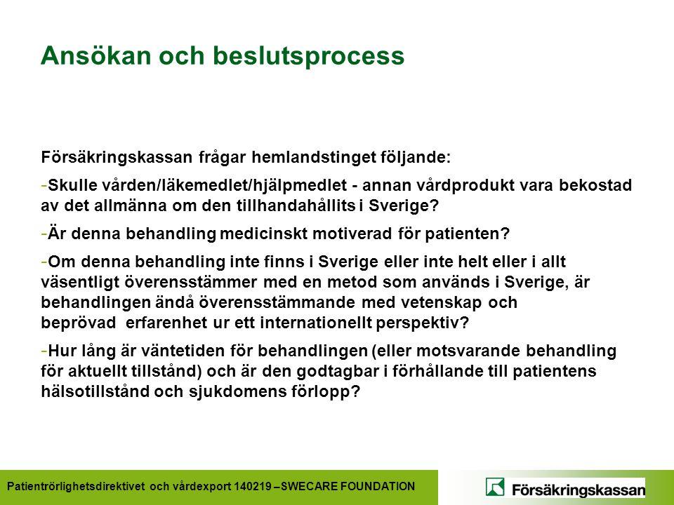 Patientrörlighetsdirektivet och vårdexport 140219 –SWECARE FOUNDATION Ansökan och beslutsprocess Försäkringskassan frågar hemlandstinget följande: - Skulle vården/läkemedlet/hjälpmedlet - annan vårdprodukt vara bekostad av det allmänna om den tillhandahållits i Sverige.