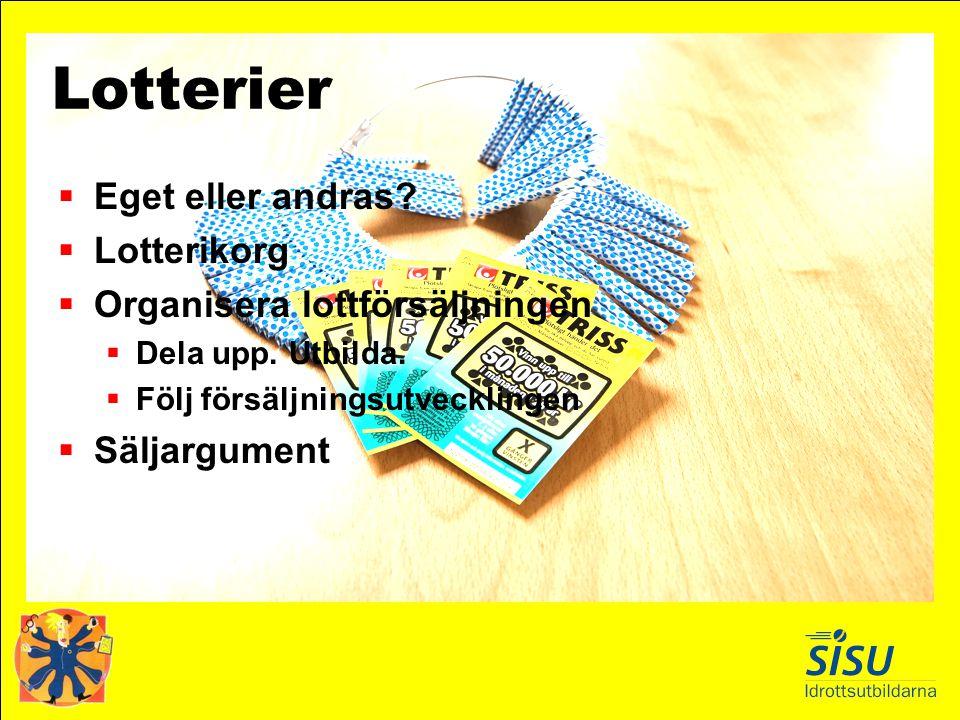 Lotterier  Eget eller andras?  Lotterikorg  Organisera lottförsäljningen  Dela upp. Utbilda.  Följ försäljningsutvecklingen  Säljargument