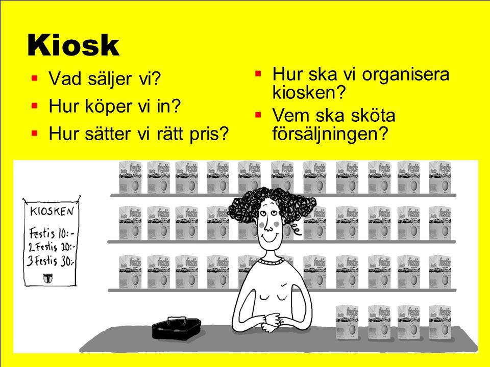 Kiosk  Vad säljer vi?  Hur köper vi in?  Hur sätter vi rätt pris?  Hur ska vi organisera kiosken?  Vem ska sköta försäljningen?