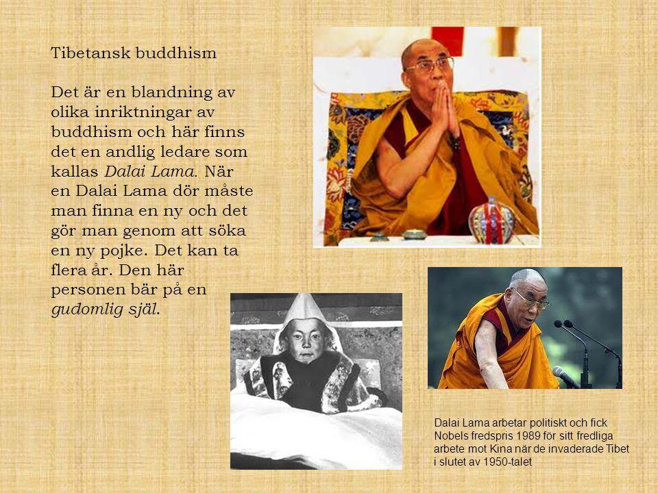 Tibetansk buddhism Det är en blandning av olika inriktningar av buddhism och här finns det en andlig ledare som kallas Dalai Lama. När en Dalai Lama d