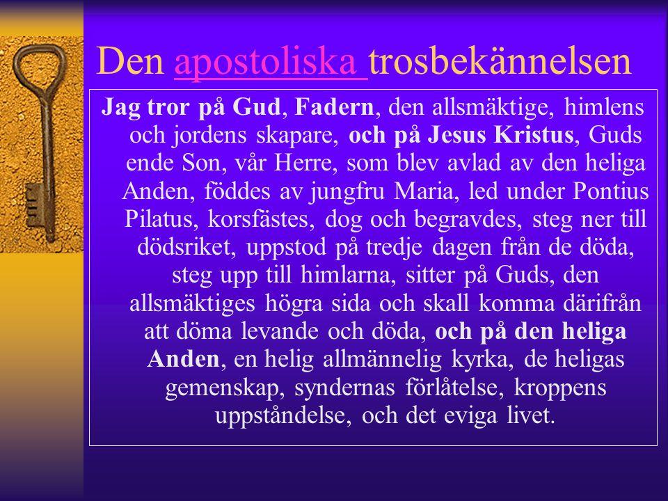 Den apostoliska trosbekännelsenapostoliska Jag tror på Gud, Fadern, den allsmäktige, himlens och jordens skapare, och på Jesus Kristus, Guds ende Son,