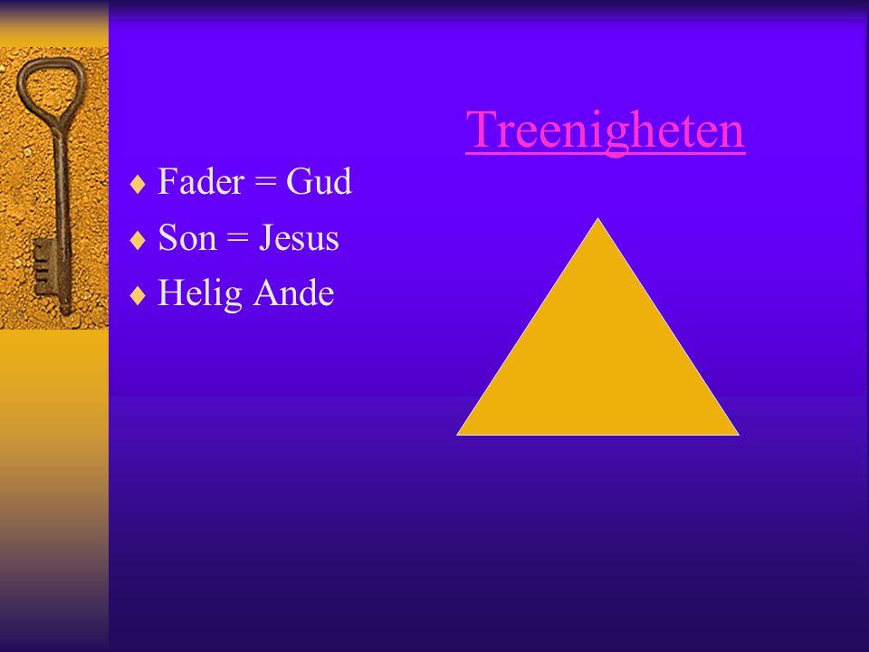 Treenigheten  Fader = Gud  Son = Jesus  Helig Ande