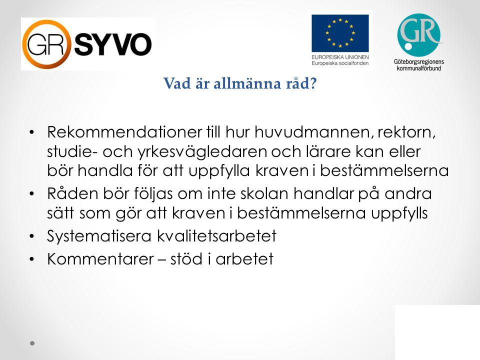 Allmänna råd om arbete med studie- och yrkesvägledning 2 Personal och kompetens