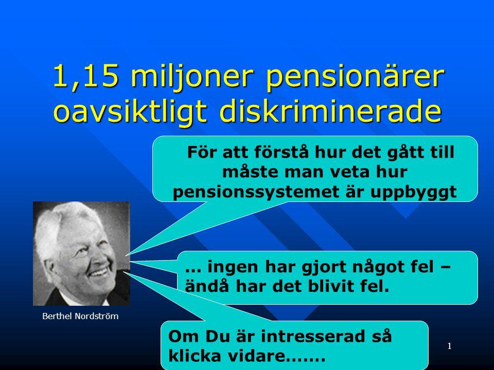 1 1,15 miljoner pensionärer oavsiktligt diskriminerade För att förstå hur det gått till måste man veta hur pensionssystemet är uppbyggt … ingen har gj