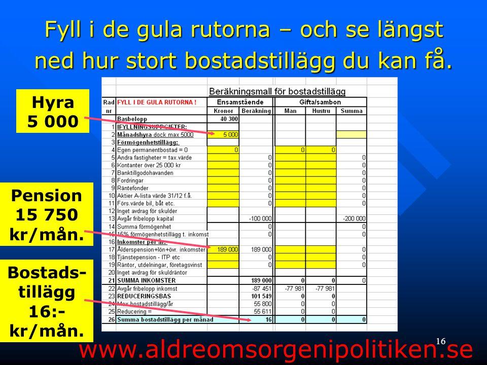 16 Fyll i de gula rutorna – och se längst ned hur stort bostadstillägg du kan få. www.aldreomsorgenipolitiken.se Hyra 5 000 Pension 15 750 kr/mån. Bos