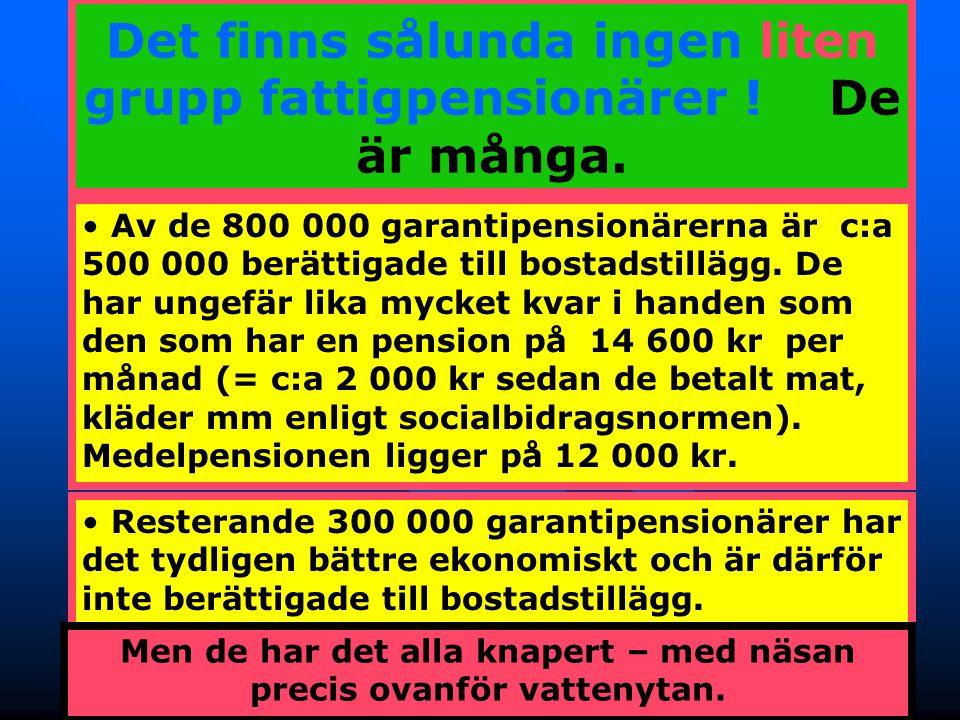 18 Det finns sålunda ingen liten grupp fattigpensionärer ! De är många. • Av de 800 000 garantipensionärerna är c:a 500 000 berättigade till bostadsti