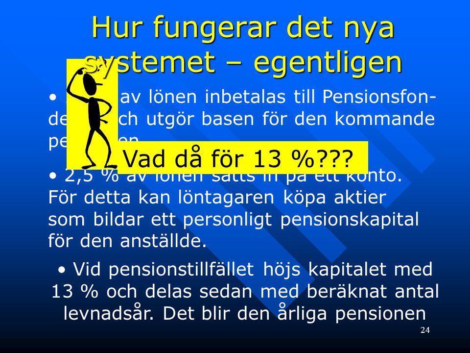 24 • 16 % av lönen inbetalas till Pensionsfon- derna och utgör basen för den kommande pensionen. • 2,5 % av lönen sätts in på ett konto. För detta kan
