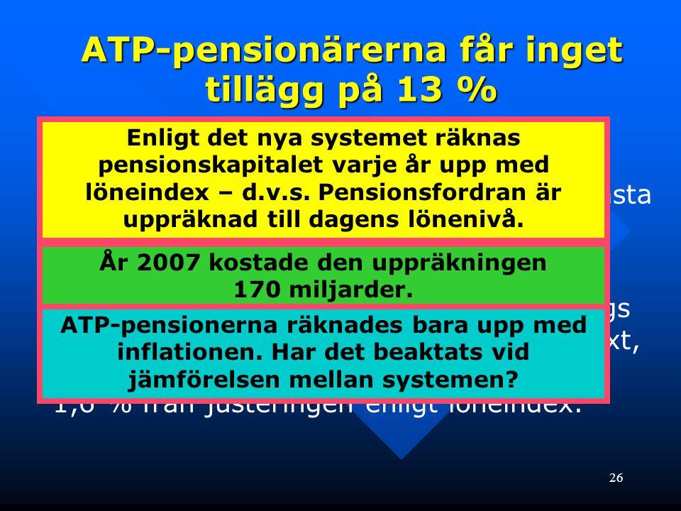 26 • Det nya pensionssystemet baserar sig på löner under hela livet. • ATP-systemet baserade sig på de 15 bästa åren av 30 år. – ÖVERKOMPENSERADE ! •