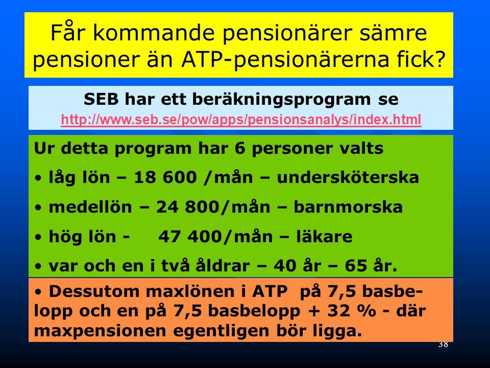 38 Får kommande pensionärer sämre pensioner än ATP-pensionärerna fick? SEB har ett beräkningsprogram se http://www.seb.se/pow/apps/pensionsanalys/inde