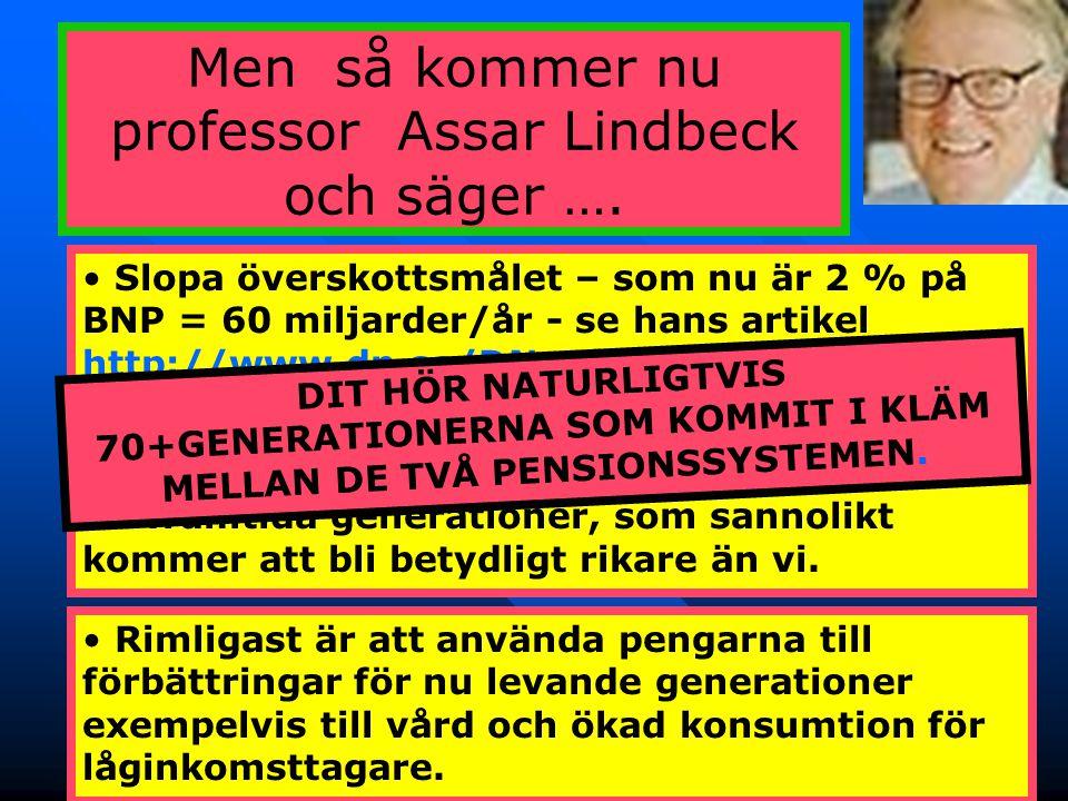 41 Men så kommer nu professor Assar Lindbeck och säger …. • Slopa överskottsmålet – som nu är 2 % på BNP = 60 miljarder/år - se hans artikel http://ww