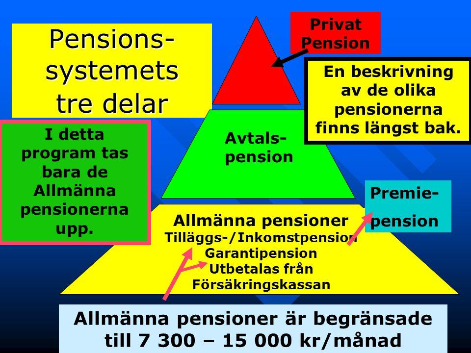 7 Pensions- systemets tre delar Privat Pension Avtals- pension Allmänna pensioner Tilläggs-/Inkomstpension Garantipension Utbetalas från Försäkringska