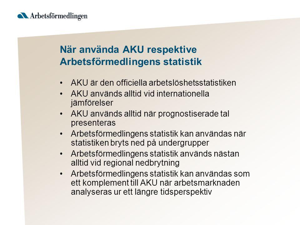 När använda AKU respektive Arbetsförmedlingens statistik •AKU är den officiella arbetslöshetsstatistiken •AKU används alltid vid internationella jämfö