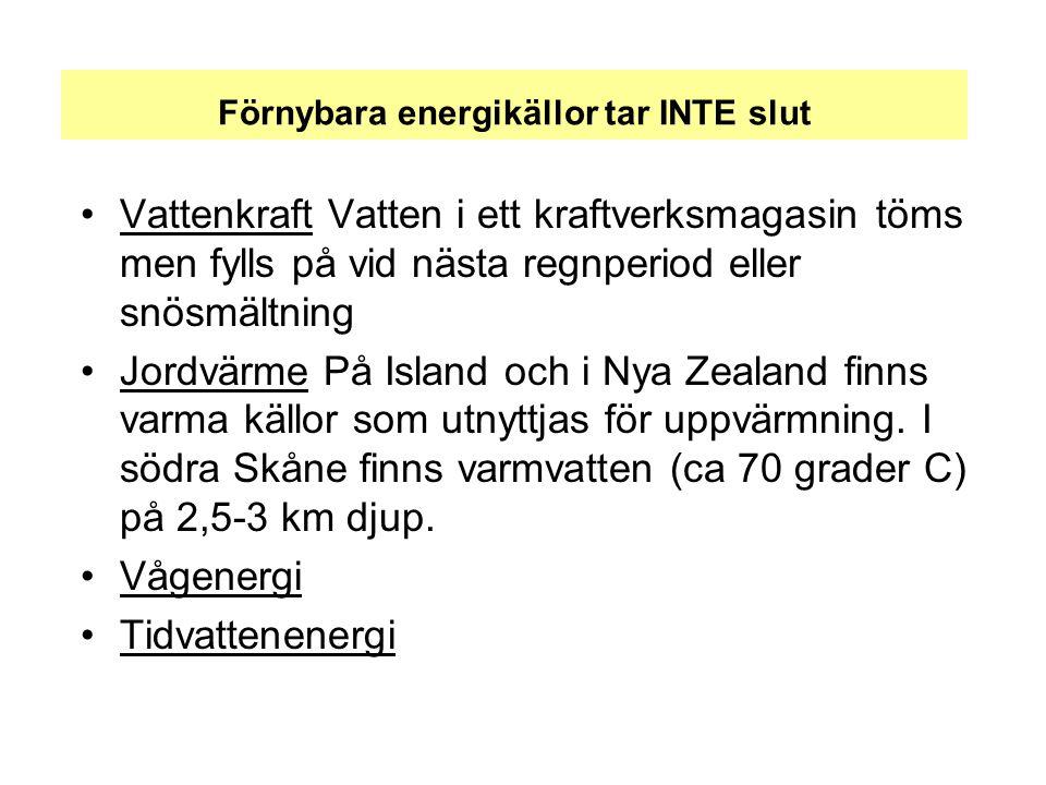 Förnybara energikällor tar INTE slut •Vattenkraft Vatten i ett kraftverksmagasin töms men fylls på vid nästa regnperiod eller snösmältning •Jordvärme På Island och i Nya Zealand finns varma källor som utnyttjas för uppvärmning.