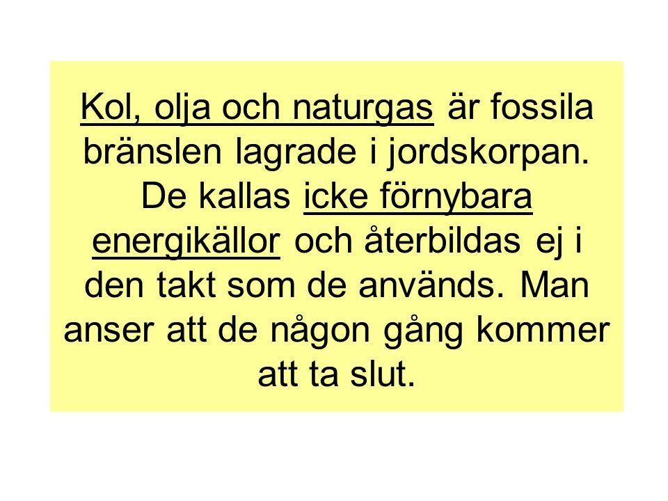 Kol, olja och naturgas är fossila bränslen lagrade i jordskorpan. De kallas icke förnybara energikällor och återbildas ej i den takt som de används. M
