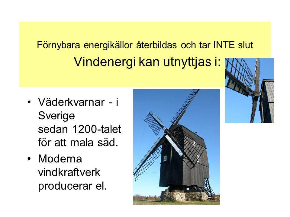 Förnybara energikällor återbildas och tar INTE slut Vindenergi kan utnyttjas i: •Väderkvarnar - i Sverige sedan 1200-talet för att mala säd. •Moderna