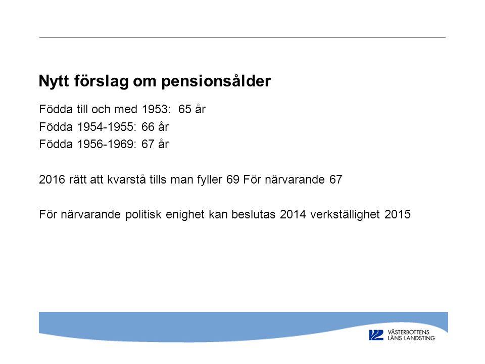 Nytt förslag om pensionsålder Födda till och med 1953: 65 år Födda 1954-1955: 66 år Födda 1956-1969: 67 år 2016 rätt att kvarstå tills man fyller 69 F