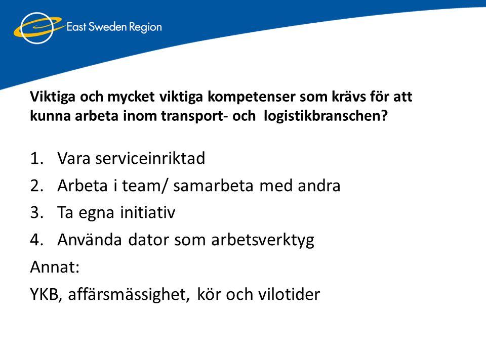 Viktiga och mycket viktiga kompetenser som krävs för att kunna arbeta inom transport- och logistikbranschen? 1.Vara serviceinriktad 2.Arbeta i team/ s