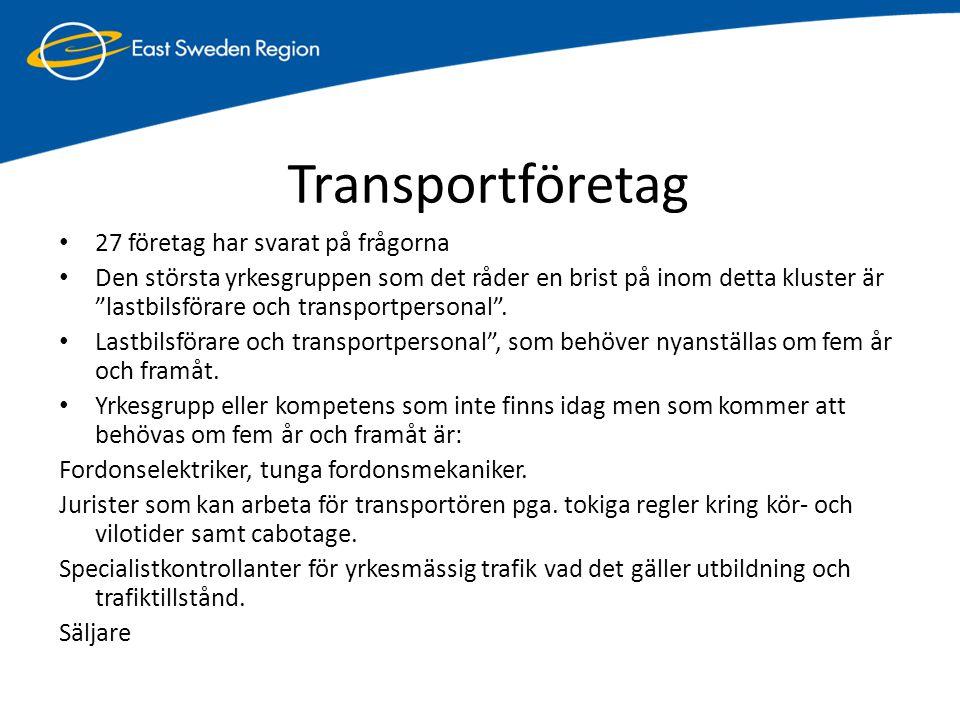 """Transportföretag • 27 företag har svarat på frågorna • Den största yrkesgruppen som det råder en brist på inom detta kluster är """"lastbilsförare och tr"""
