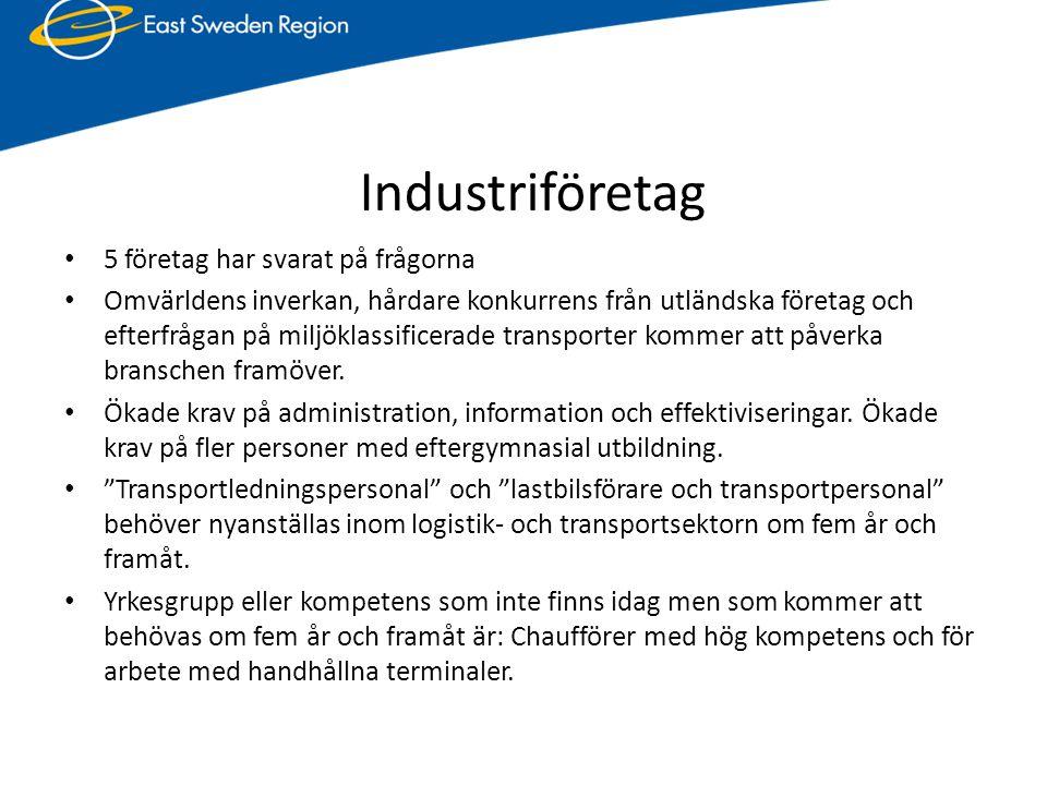 Industriföretag • 5 företag har svarat på frågorna • Omvärldens inverkan, hårdare konkurrens från utländska företag och efterfrågan på miljöklassifice
