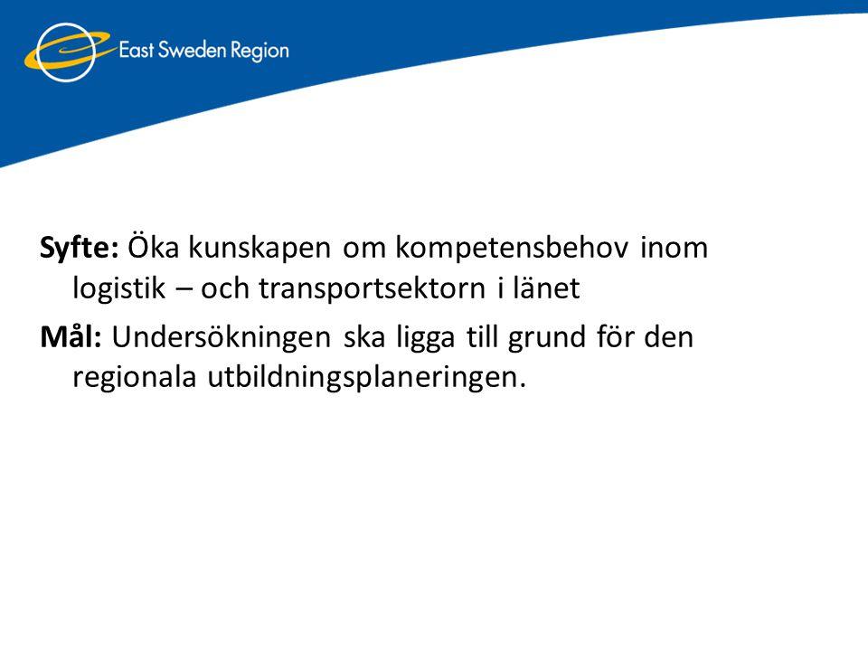 Syfte: Öka kunskapen om kompetensbehov inom logistik – och transportsektorn i länet Mål: Undersökningen ska ligga till grund för den regionala utbildn