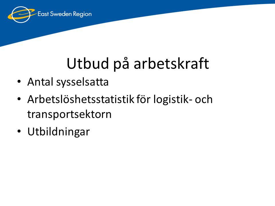 Utbud på arbetskraft • Antal sysselsatta • Arbetslöshetsstatistik för logistik- och transportsektorn • Utbildningar