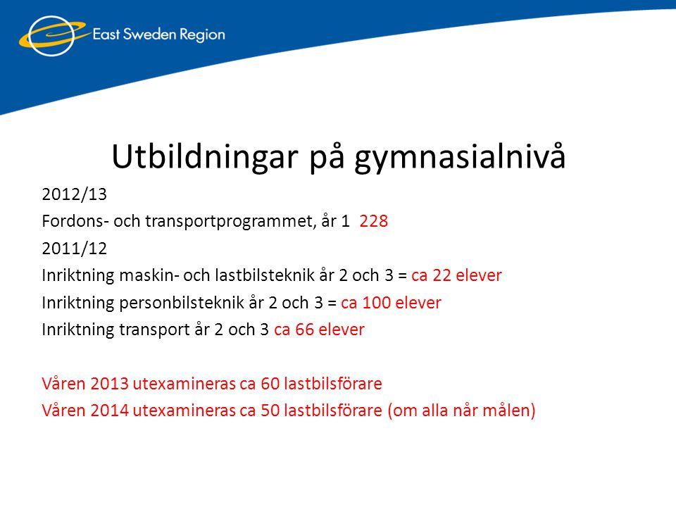 Utbildningar på gymnasialnivå 2012/13 Fordons- och transportprogrammet, år 1 228 2011/12 Inriktning maskin- och lastbilsteknik år 2 och 3 = ca 22 elev