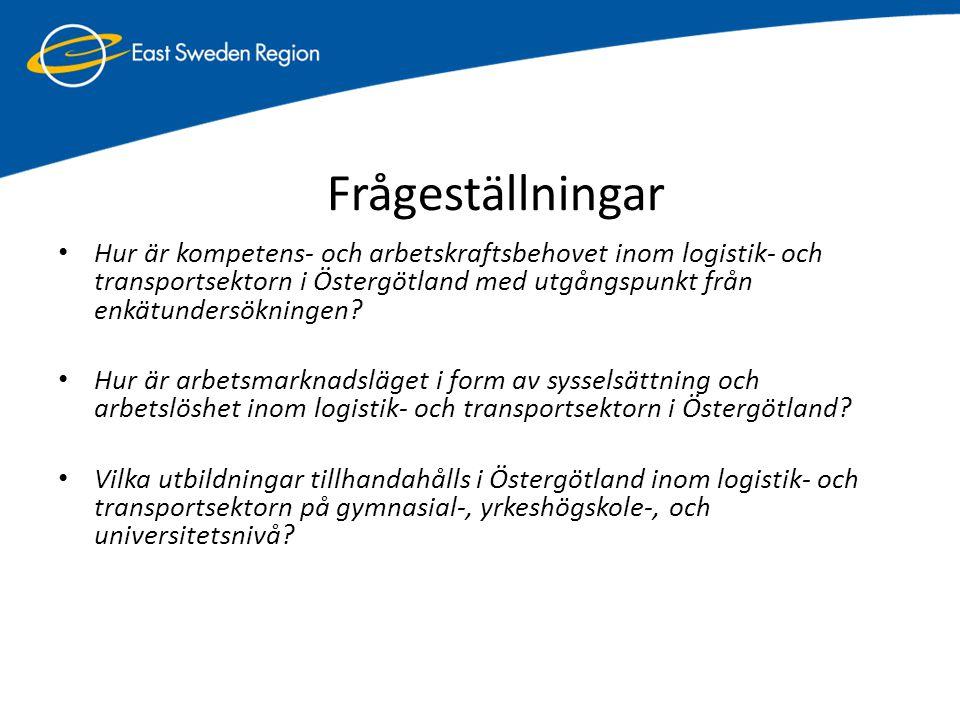 Fem logistikkluster i Östergötland • Kompetensbaserade logistikföretag, t ex konsult- och IT-företag • Omfattar företag med inriktning mot kunskaps- och konsultföretag: (1) Mjukvaruföretag med IT system, (2) Logistikkonsulter (3) Bemanningsföretag • Transportföretag och tredjepartslogistikföretag • Detta transportkluster är det största av dessa fem kluster och består av företag inom: (1) Åkeri, (2) Styckegods, (3) Hamn/shipping (4) Tredjepartslogistik • Industriföretag • Industriföretagsklustret omfattas av: (1) Tillverkande teknikföretag (2) Processindustri (3) Producenter av dagligvaror • Handelsföretag • Detta kluster inkluderar två undergrupper: (1) Grossister (som har till uppgift att sälja mot fristående eller kedjebildningar av företag.) (2) Kedjeföretag (omfattar de företag som själva ansvarar för grossitsverksamheten) • Infrastruktur, t ex hamnar • Infrastrukturklustret består av (1) Fastighetsföretag (som äger ex.