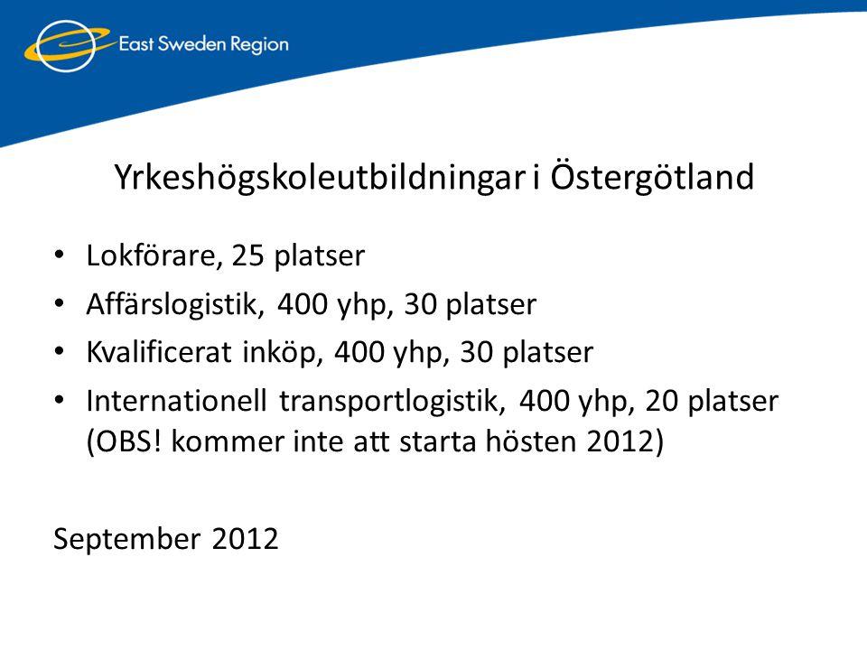 Yrkeshögskoleutbildningar i Östergötland • Lokförare, 25 platser • Affärslogistik, 400 yhp, 30 platser • Kvalificerat inköp, 400 yhp, 30 platser • Int