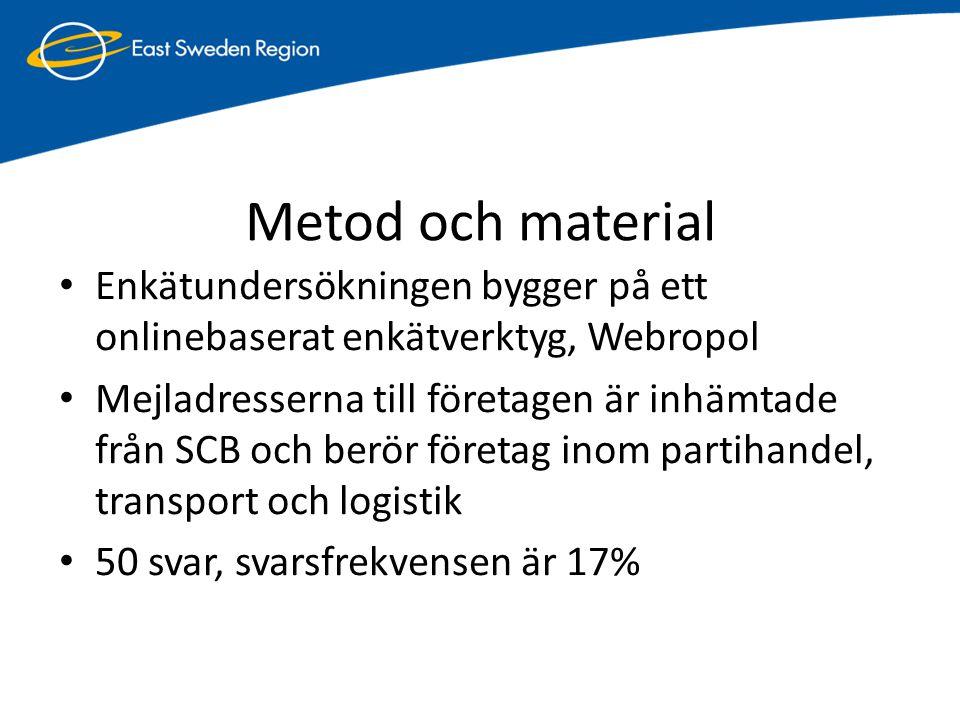 Fem logistikkluster i Östergötland • Kompetensbaserade logistikföretag, t ex konsult- och IT-företag • Omfattar företag med inriktning mot kunskaps- och konsultföretag: (1) Mjukvaruföretag med IT system, (2) Logistikkonsulter (3) Bemanningsföretag 3 Bemanningsföretag • Transportföretag och tredjepartslogistikföretag • Detta transportkluster är det största av dessa fem kluster och består av företag inom: (1) Åkeri, (2) Styckegods, (3) Hamn/shipping (4) Tredjepartslogistik 27 företag • Industriföretag • Industriföretagsklustret omfattas av: (1) Tillverkande teknikföretag (2) Processindustri (3) Producenter av dagligvaror 5 företag • Handelsföretag • Detta kluster inkluderar två undergrupper: (1) Grossister (som har till uppgift att sälja mot fristående eller kedjebildningar av företag.) (2) Kedjeföretag (omfattar de företag som själva ansvarar för grossitsverksamheten) 12 företag • Infrastruktur, t ex hamnar • Infrastrukturklustret består av (1) Fastighetsföretag (som äger ex.
