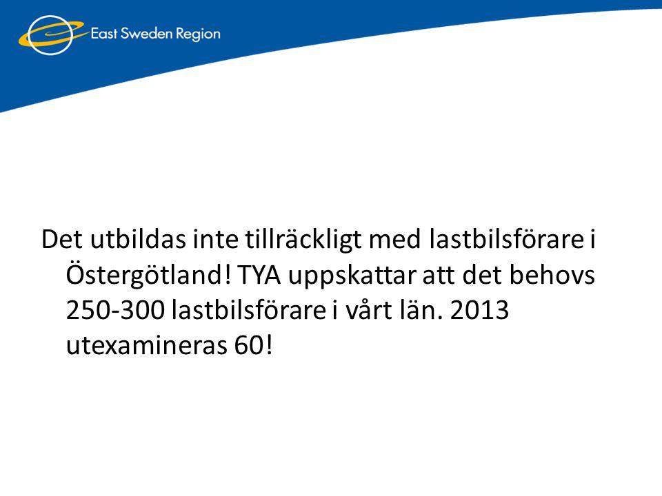 Det utbildas inte tillräckligt med lastbilsförare i Östergötland! TYA uppskattar att det behovs 250-300 lastbilsförare i vårt län. 2013 utexamineras 6