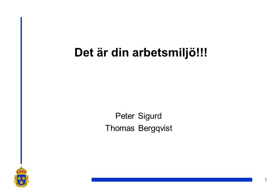 1 Det är din arbetsmiljö!!! Peter Sigurd Thomas Bergqvist