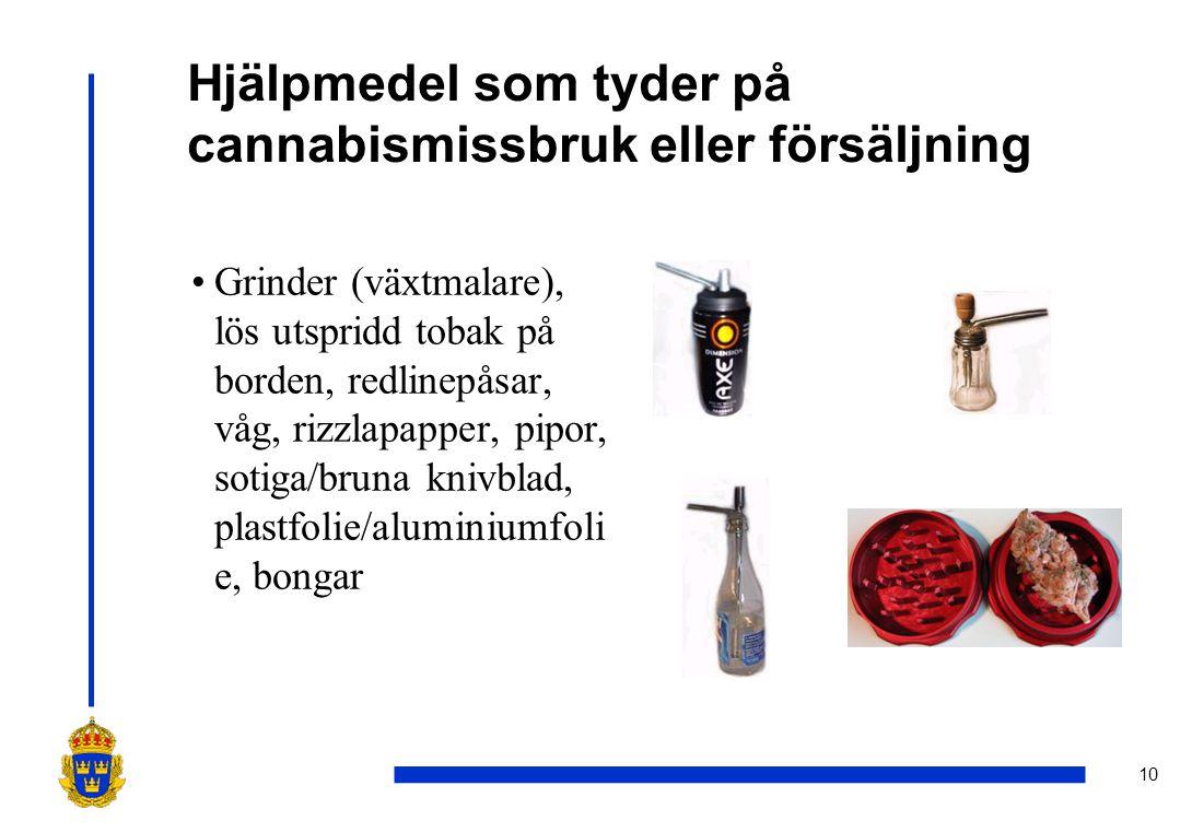 10 Hjälpmedel som tyder på cannabismissbruk eller försäljning •Grinder (växtmalare), lös utspridd tobak på borden, redlinepåsar, våg, rizzlapapper, pi
