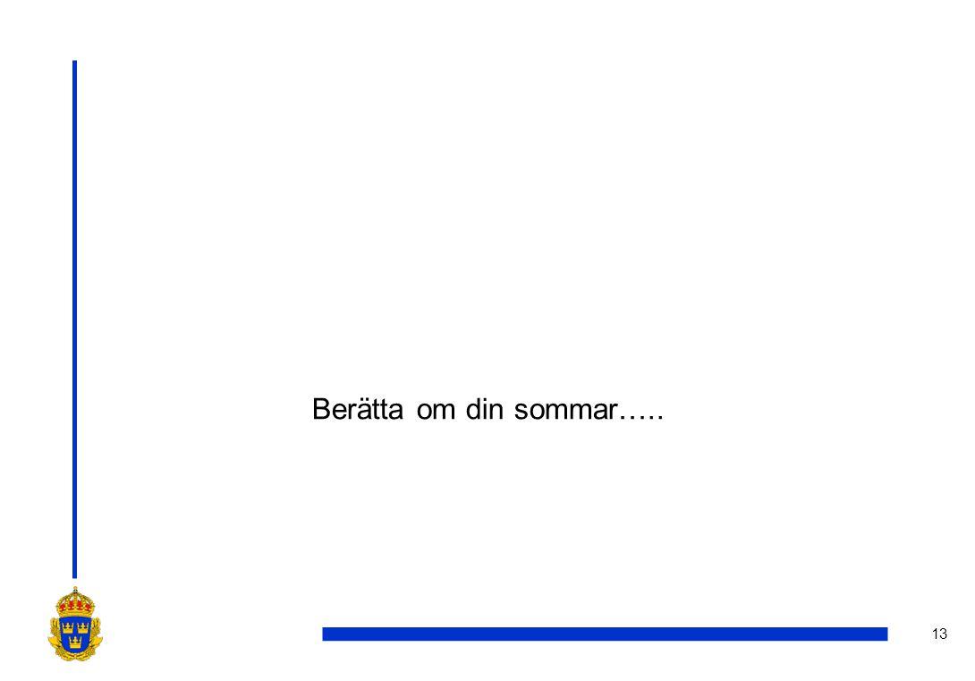 13 Berätta om din sommar…..