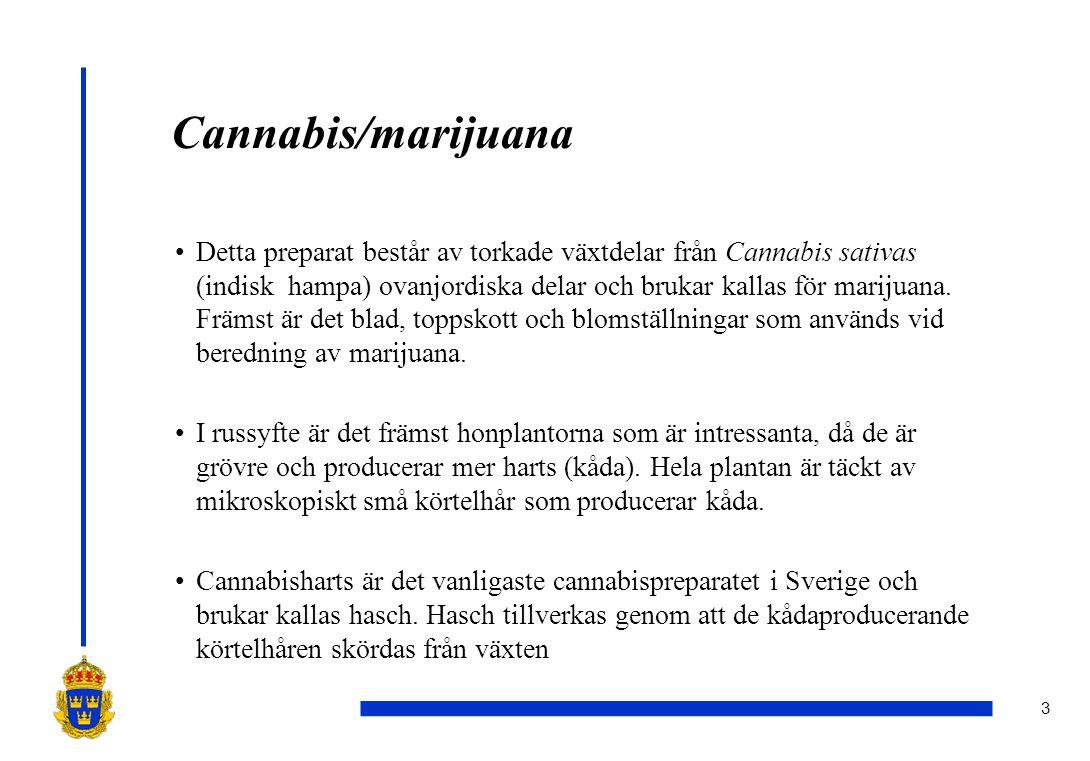 3 Cannabis/marijuana •Detta preparat består av torkade växtdelar från Cannabis sativas (indisk hampa) ovanjordiska delar och brukar kallas för marijuana.
