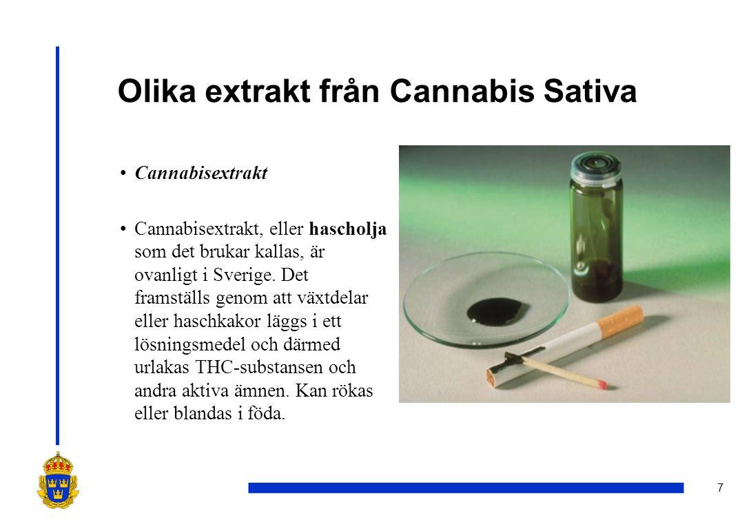 7 Olika extrakt från Cannabis Sativa •Cannabisextrakt •Cannabisextrakt, eller hascholja som det brukar kallas, är ovanligt i Sverige. Det framställs g