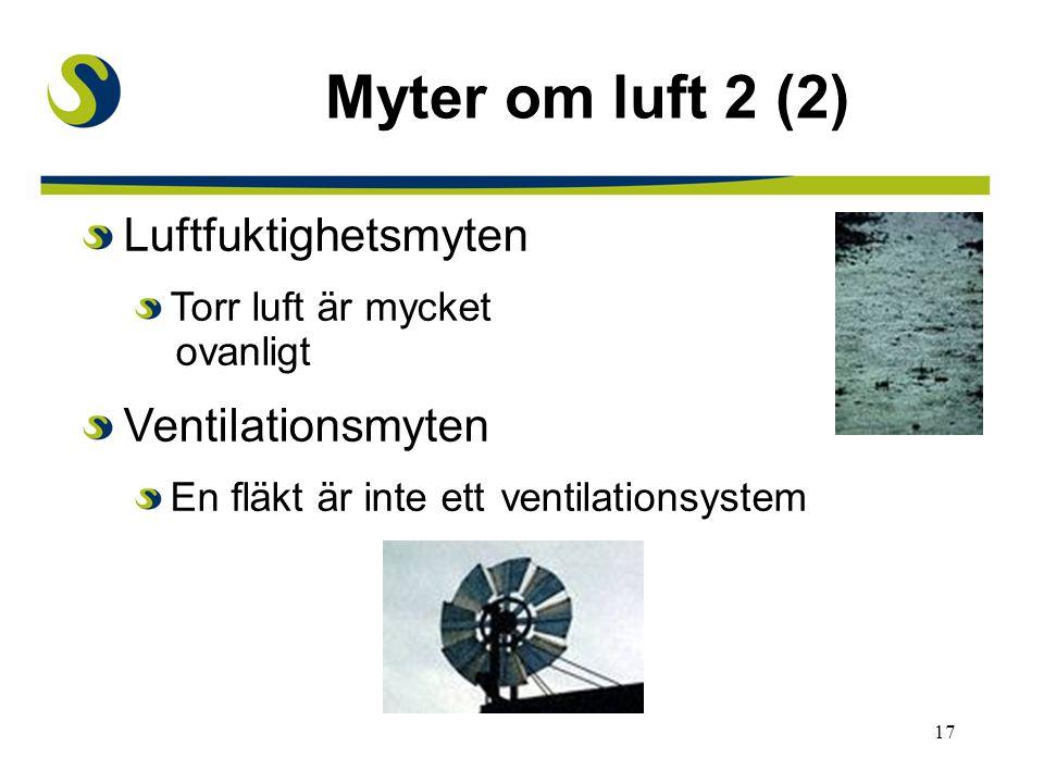 17 Myter om luft 2 (2) Luftfuktighetsmyten Torr luft är mycket ovanligt Ventilationsmyten En fläkt är inte ett ventilationsystem