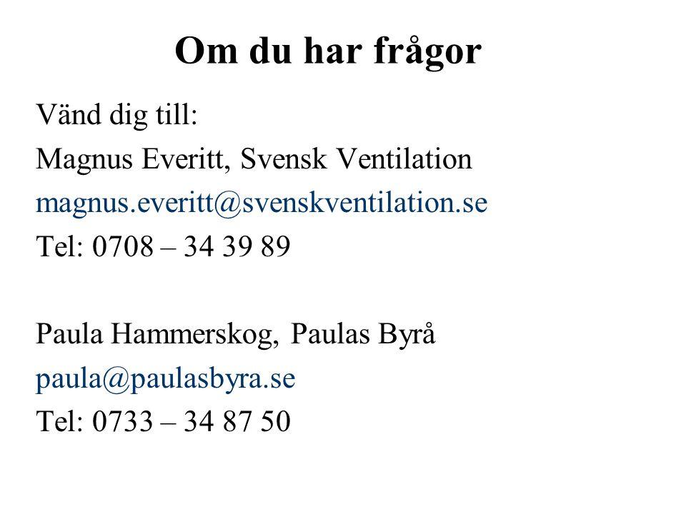 Om du har frågor Vänd dig till: Magnus Everitt, Svensk Ventilation magnus.everitt@svenskventilation.se Tel: 0708 – 34 39 89 Paula Hammerskog, Paulas Byrå paula@paulasbyra.se Tel: 0733 – 34 87 50